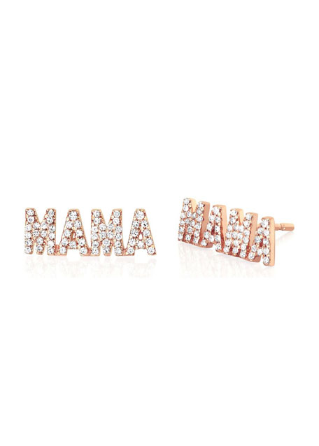 Image 1 of 1: 14k Rose Gold Diamond MAMA Stud Earring, Single