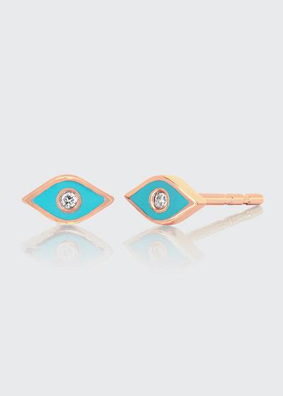 14k Rose Gold Diamond & Enamel Evil Eye Stud Earring  Single  Turquoise