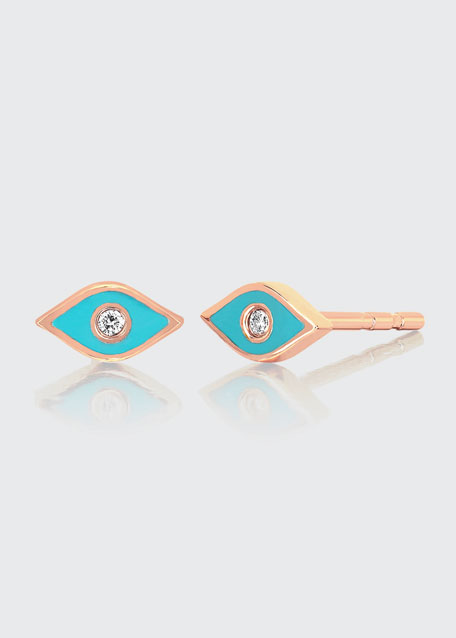 14k Rose Gold Diamond & Enamel Evil Eye Stud Earring, Single, Turquoise