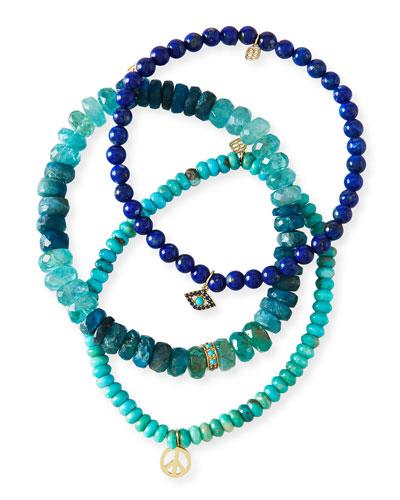 Turquoise Trio & Sapphire Bracelets  Set of 3