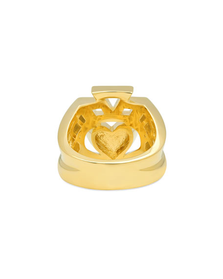 14k Yellow Gold Claddagh Ring, Size 7