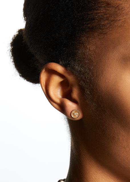 14k Diamond Evil Eye Coin Stud Earring, Single