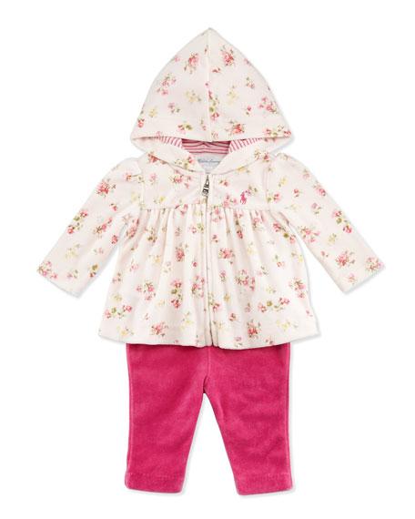 Floral-Print Velour Hooded Jacket & Pants Set, Pink Multi, 3-24 Months