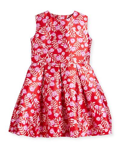 Sleeveless Abstract Floral Mikado Dress, Ruby/Fuchsia, Size 8-14