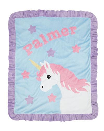 Personalized Unicorn Plush Blanket  Blue