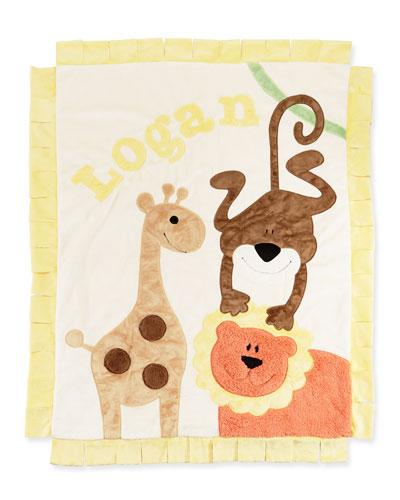 Personalized Wild Ones Plush Blanket  Cream