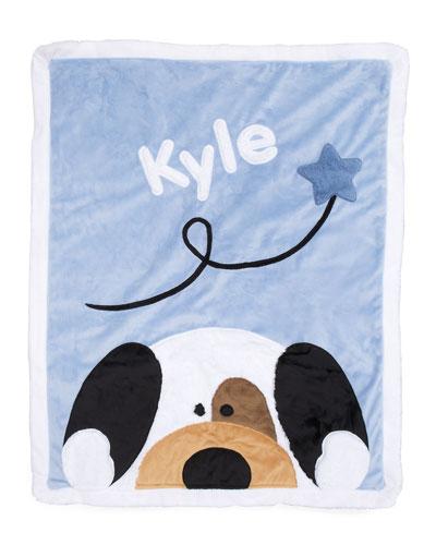 Personalized Peek-a-Boo Puppy Plush Blanket  Blue