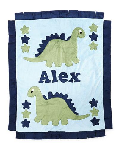 Personalized Dino the Dinosaur Plush Blanket  Blue/Green