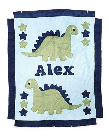 Personalized Dino the Dinosaur Plush Blanket, Blue/Green
