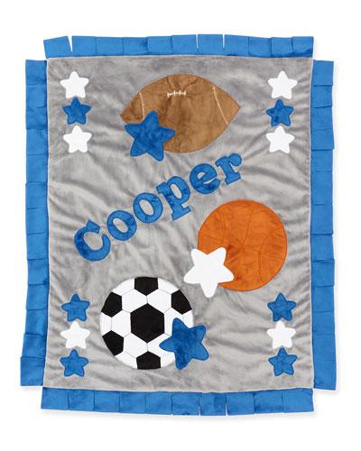 Personalized Good Sport Plush Blanket  Gray/Blue
