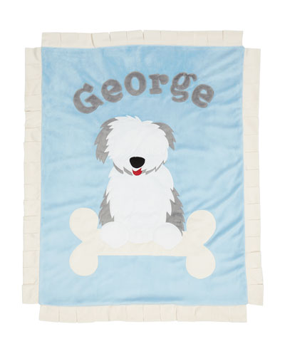 Personalized Puppy Love Plush Blanket  Blue