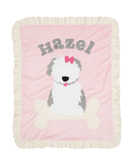 Personalized Puppy Love Plush Blanket, Pink