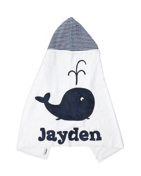 Personalized Whale Hooded Towel, White