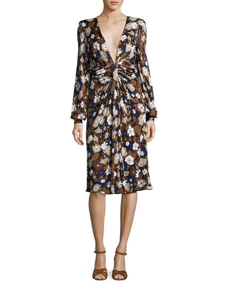 Floral Knotted Deep-V Dress