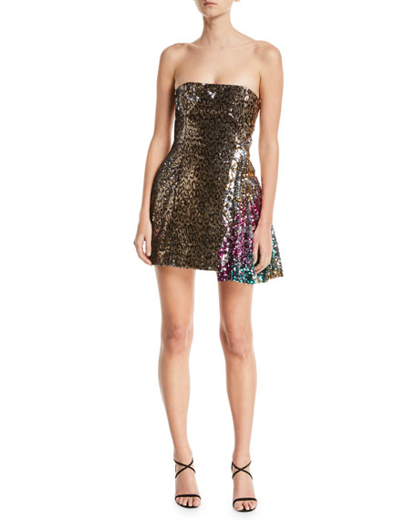 Sequined Leopard-Print Strapless Cocktail Dress