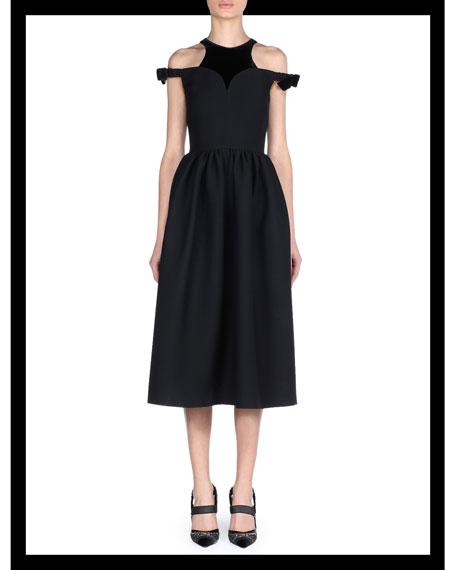 Cold-Shoulder Wool-Silk Gazar Tea-Length Cocktail Dress