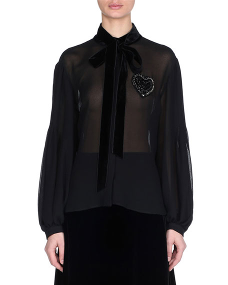 Fendi Blouson-Sleeve Pleated-Back Silk Blouse with Heart