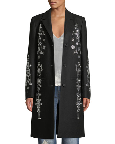 Single-Breasted Chandelier Encrusted Wool Coat