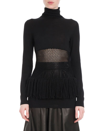 Turtleneck Mesh-Waist Fringe-Hem Wool Sweater