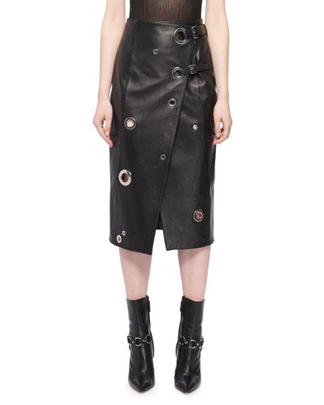 Altuzarra Grommet Wrap-Front Leather Skirt