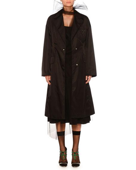 Button-Front Impermeable Gabardine Nylon Jacket