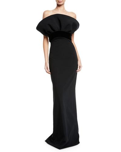Fan-Bustier Column Evening Gown
