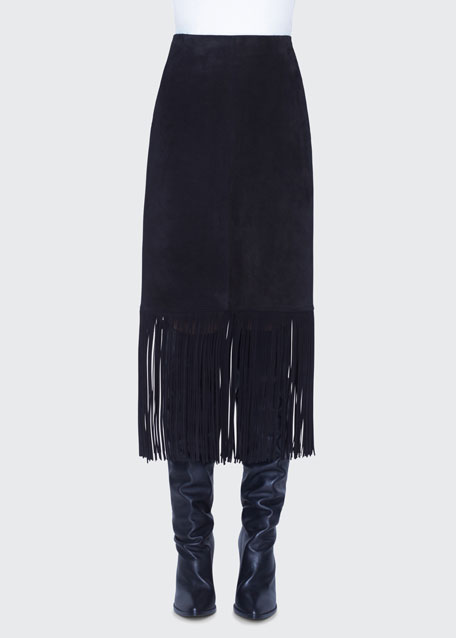 Image 1 of 1: Fring-Trim Suede Skirt
