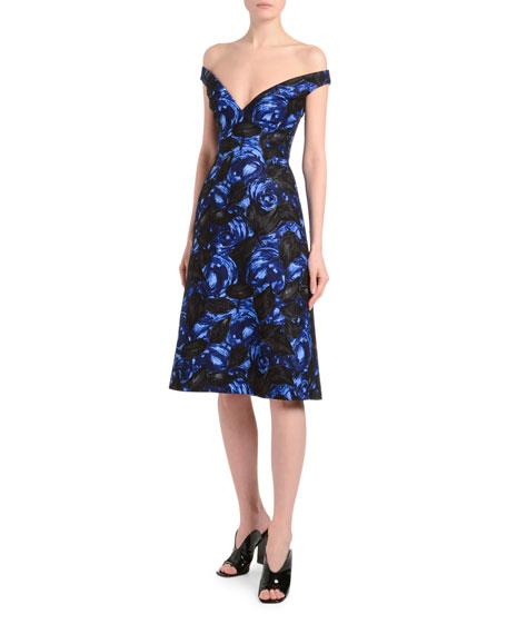 Off-the-Shoulder Dark Rose Print Dress