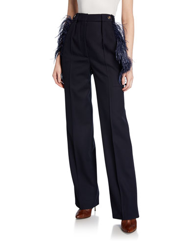 Feather-Trim Wool Trousers