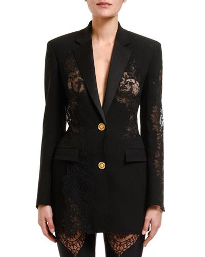 Woven Lace-Insert Jacket