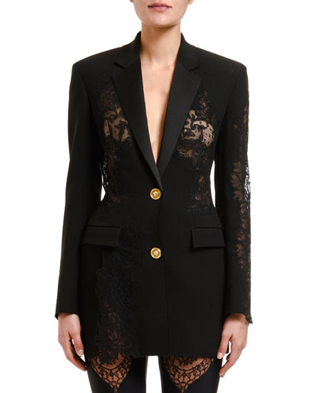 Image 1 of 1: Woven Lace-Insert Jacket