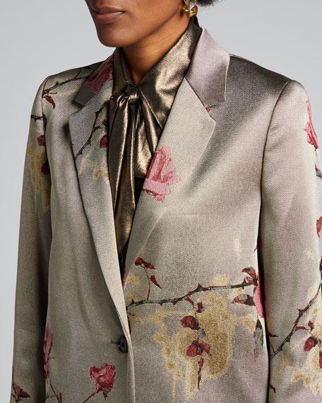 Metallic Floral-Print Coat