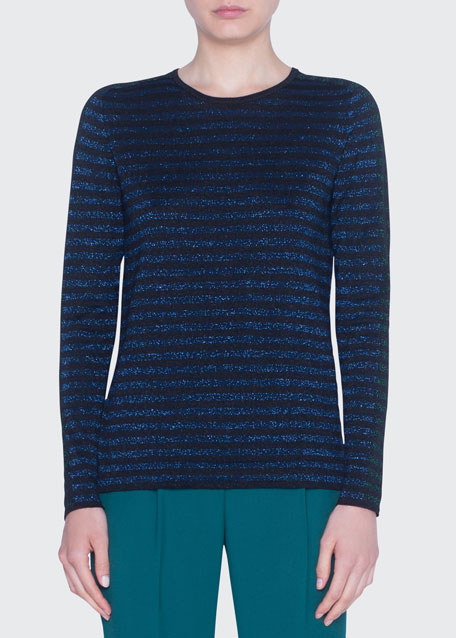 Image 1 of 1: Glitter-Striped Crewneck Wool Sweater