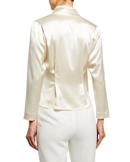 Silk Satin Draped Scarf Shirt