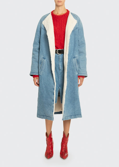 Image 1 of 1: Sherpa-Lined Denim Coat