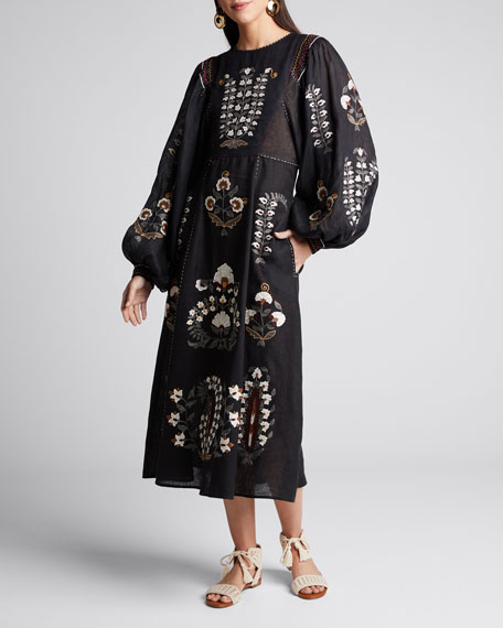 Image 1 of 1: Patchouli Embroidered Linen Dress