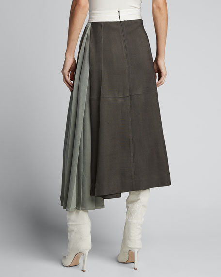 Side Pleated Suiting Skirt