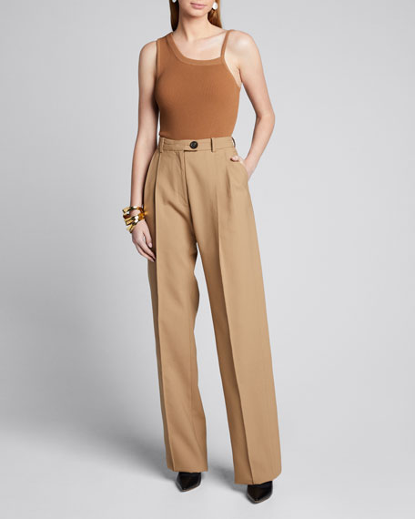 Image 1 of 1: Cotton Side-Pleated Trousers