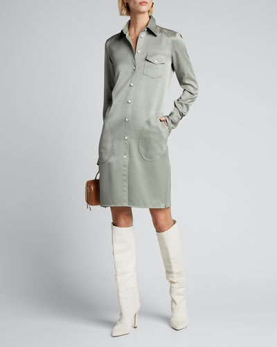 Sateen Fitted Classic Shirtdress