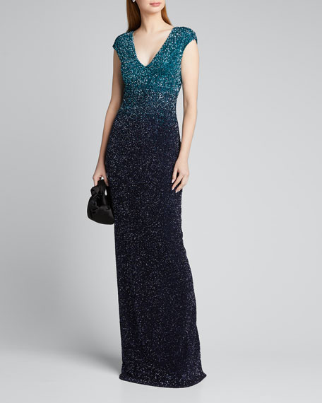 Image 1 of 1: Ombre Signature Sequin V-Neck Column Gown