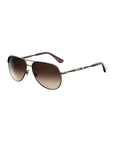 Jewly Rhinestone Aviator Sunglasses
