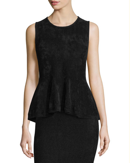 Sleeveless Chenille Peplum Top
