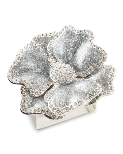 Silver Flower Napkin Ring  Set of 4