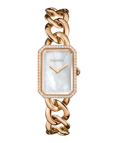 CHANELPREMIÈRE 18K Beige Gold Chain Watch with Diamonds