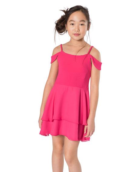 Sofie Drape Shoulder Two-Tone Dress, Size 7-16