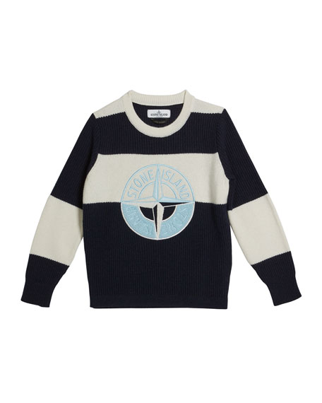 Image 1 of 1: Colorblock Logo Embroidered Sweater, Size 14