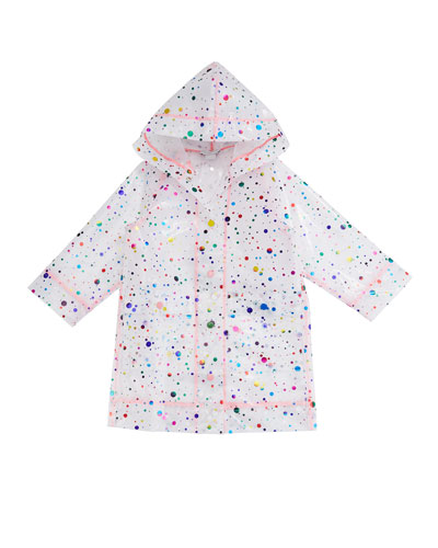 Girl's Foil Dot Print Transparent Raincoat  Size 4-14