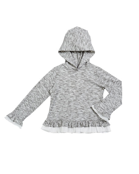 Image 1 of 1: Girl's Hatchi Heathered Ruffle Trim Hoodie, Size 2-6X