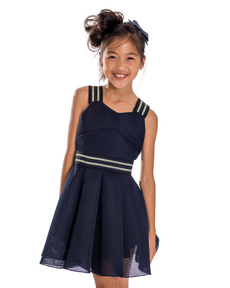 Hey Girl Swing Dress w/ Metallic Stripe Accents, Size 7-16