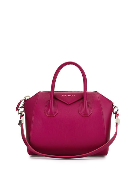 Antigona Small Leather Satchel Bag, Purple